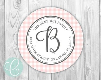 """Gingham -  Return Address Labels - 2"""" Round Stickers - Glossy or Matte - Plaid Preppy Pink Buffalo Check Checkered Country Rustic Family"""
