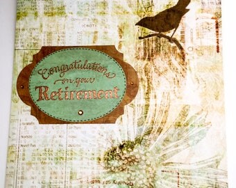 Congratulations on your retirement - large - oversized - giant cards - from all of us - office retirement - steampunk - flowers - butterfly