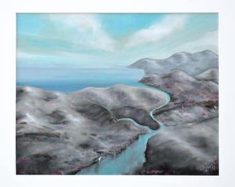 Landscape painting, Mountain painting, Original blue painting, Mountain wall decor, Landscape on Canvas, River Painting, modern landscape