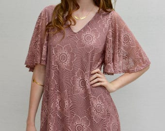Magnolia Bell Sleeves Dress in Mauve
