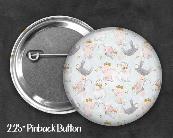 "2.25"" Animal Cuties Pinback Button, Geek Button, Geekery, Button, Kawaii Button, Badges, Flare, Pin, Kawaii, Fairy Kei, Pastel Goth"