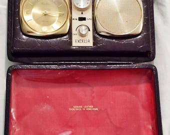 Vintage Exccella Travel Fold Out Alarm Clock Radio With Speakers