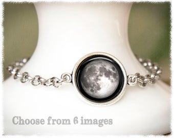 Full Moon • World Map • Compass • Bunnies • Hot Air Balloon Bracelet • Best Friend Gift • Choose Image