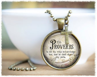 Inspirational Jewelry • Proverbs 3:6 Necklace • Bible Verse Pendant • Religious Jewelry • Bible Quotes