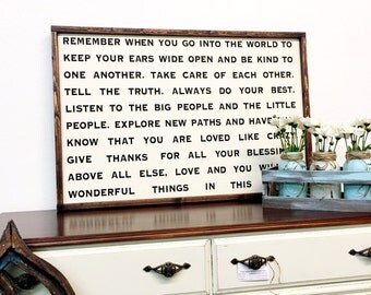 Remember when you go into the world painted wood sign