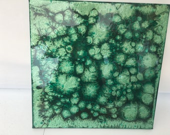 Original Abstract Resin Painting Mint Green Forest Green