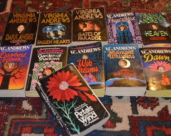 V C Andrews 1990s Edition Lot of 11 Books, Sequels to Flowers in the Attic: Petals on the Wind, Garden of Shadows, Dark Angel, & More