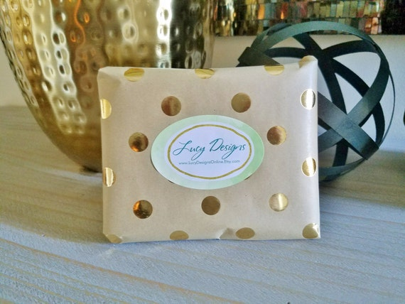 Gift wrap add on option for mini paintings. Neutral kraft paper with metallic gold dots and Logo sticker
