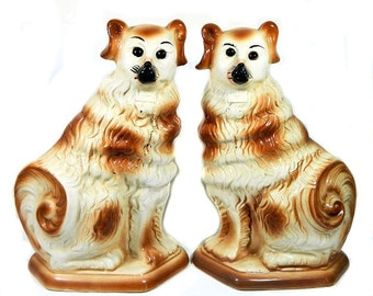 A Pair of Antique Large Staffordshire Collie Hearth Dogs with Glass Eyes