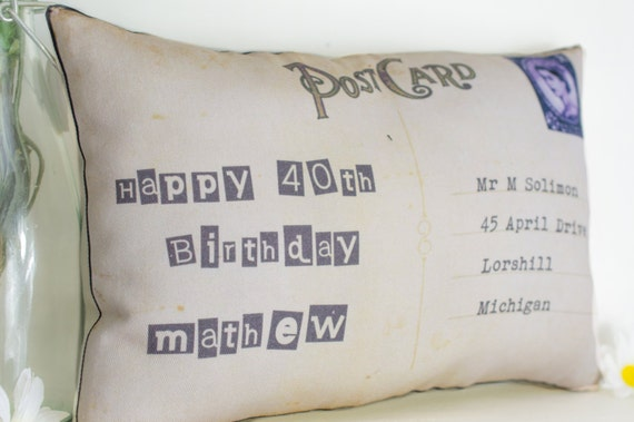30th, 40th, Birthday Postcard Personalized Gift Mini Pillow