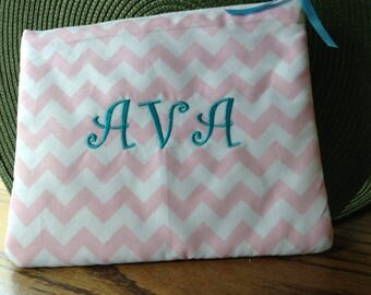 Personalized Bridesmaids gifts ,Graduation gifts  , Monogrammed Cosmetic bags, Chevron Makeup bags .
