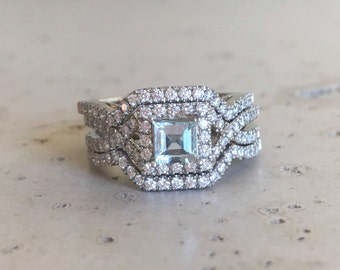 Deco Aquamarine Engagement Ring Set- Aquamarine Engagement Ring Rose Gold- 14k Engagement Edwardian Bridal Set Wedding Ring-