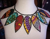 african fabric necklace  -  by Paintedthreads
