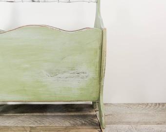 Magazine Rack - Handpainted - Rustic Sage Green Home Decor