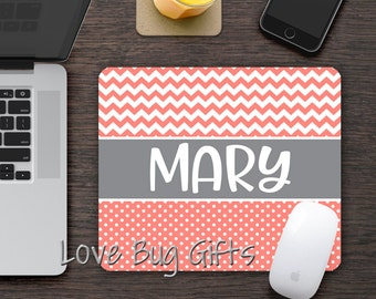 Personalized Mousepad * Chevron * Polka dots * Choose your color * Name * Desk accessory