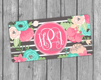 Gray Stripe and Floral Monogrammed License Plate, Monogram, Personalized, Preppy