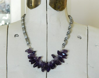 SALE 15% coupon code MARCH15 Amethyst Points Assemblage Necklace Healing Crystals and Earrings Set by 58diamond