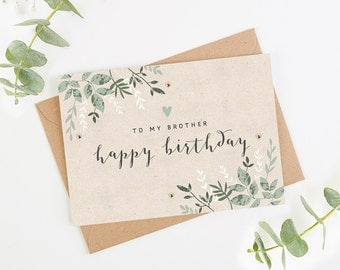 Brother Birthday Card Green Botanical