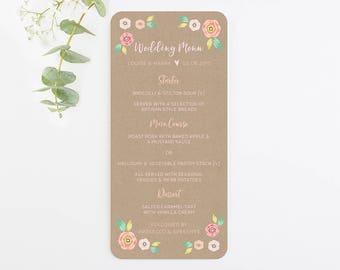 Bright Floral Kraft Wedding Menu