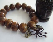 Spiritual Inspirational Healing Mala Wood Bracelet Wellness Oneness Cosmic Buddha Om Large Wooden Eco Beads Yoga Meditate Consciousness