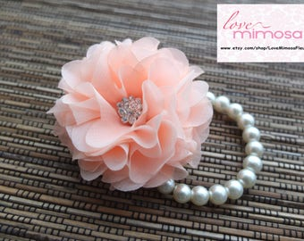 Wrist Corsage, Chiffon Flower Corsage (Coral / Peach), Coral bridal Corsage, Peach Chiffon Rose corsage