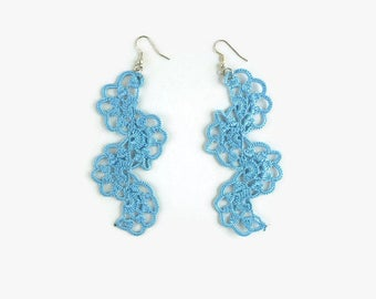 Blue Spiral Earrings, Long Dangle Earrings , Crochet Lace Earrings, Turkish Oya ,Statement Crochet Jewelry, gift For Her