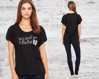 Sun Sand Sea and Flip Flops Black Super Soft Flowy Raglan Tee Women's TShirt Cotton Shirt