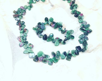 Ruby Zoisite Necklace Bracelet Set Handmade Jewelry by NorthCoastCottage Jewelry Design & Vintage Treasures