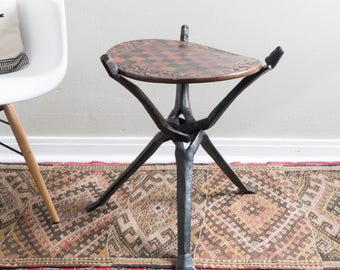 Vintage Hand Carved African Chess Table Double Sided Wooden Accent Table