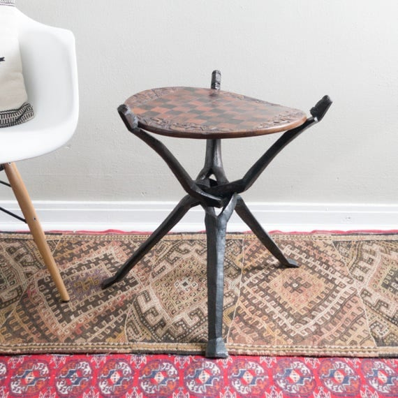 Hand Carved African Chess Table
