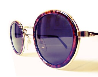 Vintage Gatsby Round Sunglasses / P3 Glasses / John Lennon Glasses / Purple Tortoise Shell / Layered Frames / O'Malley Sunglasses