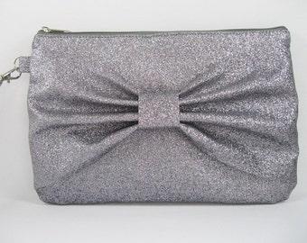 SUPER SALE - Gray Glitter Bow Clutch - Bridal Clutch, Bridesmaid Clutch, Wedding Clutch, Wedding GIft - Made To Order