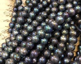 "SALE! 8mm-9mm Blue Pearls, Peacock Large Hole pearls,round Tahitian ""STYLE"" Freshwater Pearls for leather,~ 45 pearls, shades of blue"