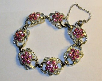 Vintage Signed Coro Pink Rhinestone Flower Bracelet on Silver Tone Metal 1950s Link Bracelet with Safety Chain