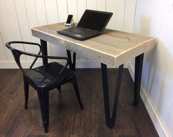 QUICK SHIP-Modern industrial desk, urban loft style featuring weathered barnwood with contemporary steel legs.