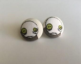 Zombie Button Earrings