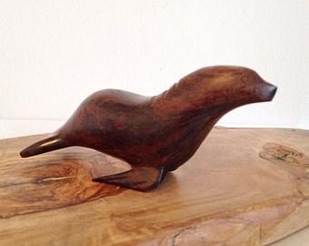 Vintage Carved Ironwood Seal Figurine