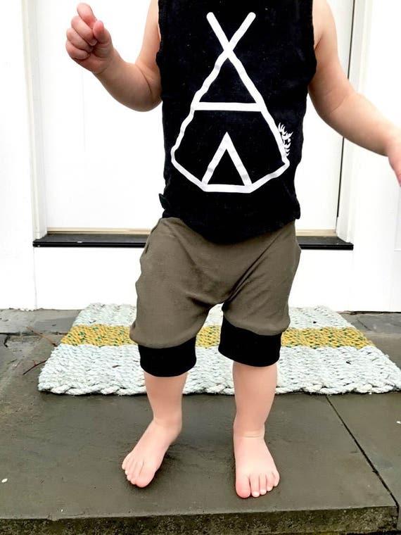 Handmade Hipster Baby Shorts | Baby Shorts | Baby Harems | Harem Shorts | Baby Girl Shorts | Baby Boy Shorts | Army Green Shorts / Shorties
