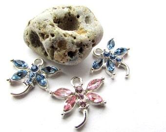 Dragonfly Charm Pink Glass Charm Rhinestone Charm 20 x 19 mm Charm Jewelry making Jewelry supplies (1)