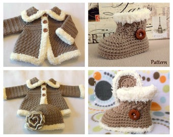 Crochet PATTERN Pack Baby Sweater Bootie & Hat Patterns The Charlie Girl Boots Pattern Crochet Sweater Pattern Baby GIrls Set Patterns