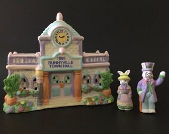 Vintage Light Town Hall Bunnyville U.S.A. Easter House