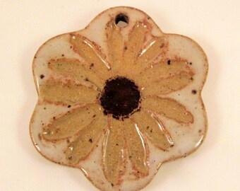 Large Glazed Pottery Pet Cremains Motif Pendant or Ornament - Custom Memorial Pet Cremation Keepsake -  RUSTIC DAISY