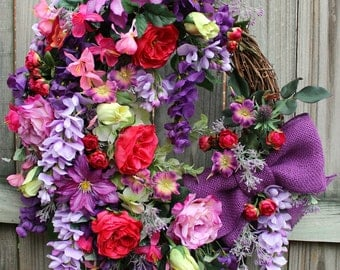 French Country Wreath, Mother's Day Wreath, Summer Wreath, English Cottage Garden Wreath,Spring floral, Petunia Rose Wisteria Clematis