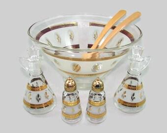 Hazel Atlas Gold Wheat Glass Serving Set, Salad Bowl, Oil and Vinegar Cruets, Salt and Pepper, Wood Spoon and Fork