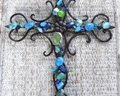 Decorative Wall Cross, Beaded Cross, Large Wrought Iron Cross with Beads, Gifts under 30, Gifts for Her, Turquoise Colors, Custom Colors