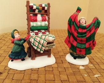 Department 56 Christmas Bazaar Handmade Quilts Set of 2 New England Villlage series