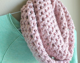 Light Pink Scarf - Pink Infinity Scarf - Pink Knit Scarf - Pink Crochet Scarf - Pink Cowl -