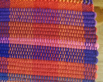 Bright Orange, Red, and Purple Ethnic Nicaraguan Handwoven Rag Rug