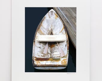 Old Boat Photography, 11x14 Matted Print, Bar Harbor Maine Rowboat Photo, Wooden Boat Art, Vertical Coastal Artwork, Nautical Wall Decor