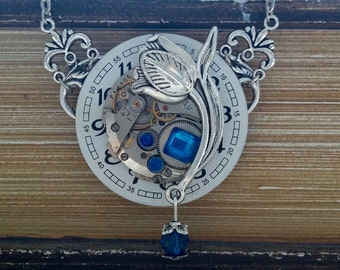 Steampunk with a large flower pendant necklace